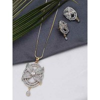 American Diamond Chunky Floral Pendant Necklace Set