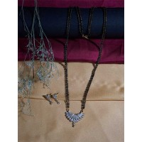 American Diamond Mangalsutra with Floral Dual-toned Pendant and Earrings
