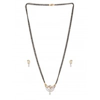 American Diamond Mangalsutra with Designer Pendant and Earrings