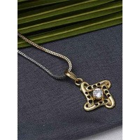 American Diamond Necklace with Small Stone Pendant
