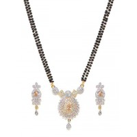 American Diamond Mangalsutra with Surya Dual-toned Pendant and Earrings
