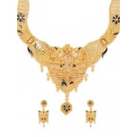 Golden Ethnic Necklace Set with Multicolored Floral Motifs