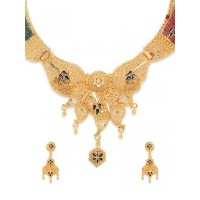 Floral Golden Ethnic Necklace Set with Green and Maroon Stones