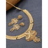 Designer Golden Ethnic Necklace Set