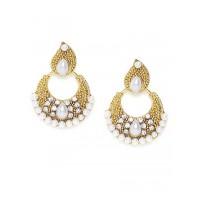 Short Golden Chandbali Earrings With Pearls