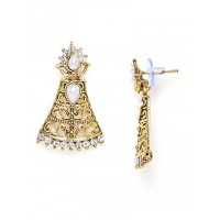 Short Golden Bell Earrings With Pearls