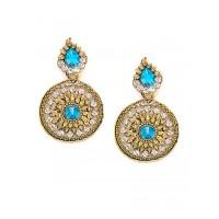 Short Golden and Blue Disc Dangle Earrings