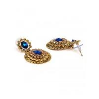 Short Golden and Navy Blue Ethnic Dangle Earrings