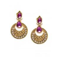 Short Golden and Purple Ethnic Dangle Earrings