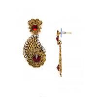 Golden Flower Dangle Earrings With Red Stones