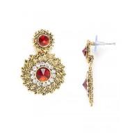 Short Golden and Red Disc Dangle Earrings
