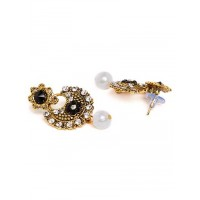 Short Golden and Black Floral Dangle Earrings