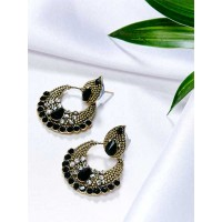 Short Golden and Black Ethnic Chandbali Earrings