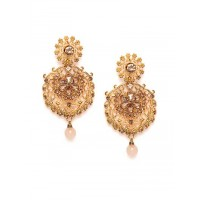 Golden Floral Ethnic Dangle Earrings