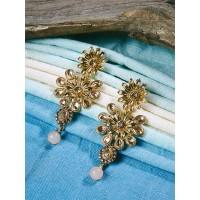 Golden Flower Ethnic Dangle Earrings