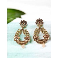 Golden Ethnic Dangle Earrings Embellished With Floral Motifs