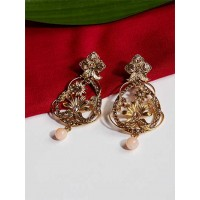 Designer Golden Floral Ethnic Dangle Earrings