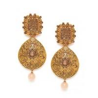 Golden Drop Ethnic Earrings Embellished With Designer Motifs