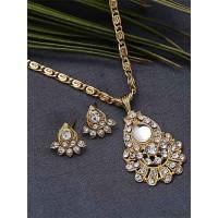 Embellished Golden Pendant Necklace Set