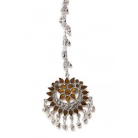 Brown and Silver Tribal Maang Tikka For Women