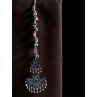 Blue and Silver Tribal Maang Tikka For Women