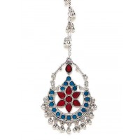 Blue and Red Floral Tribal Maang Tikka