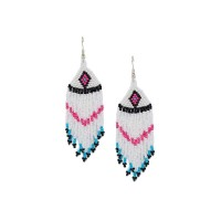 White Seed Beads Handmade Jewellery Earrings and Necklace Combo
