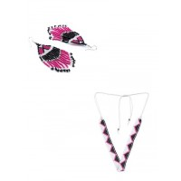 Pink Seed Beads Handmade Jewellery Earrings and Necklace Combo