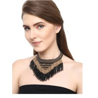 Beaded Black and Golden Western Necklace and Quirky Black Earrings Combo