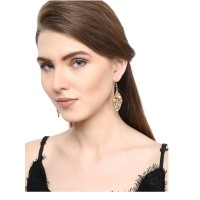 Golden Pendant Chain Necklace and Earrings Combo