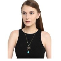 Turquoise and Black Beads Embellished Necklace and Earrings Combo