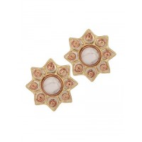Combo of Brass Surya Studs and Brass Pearl Hoop Earrings