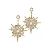 Combo of Golden Hoop and Star Brass Earrings
