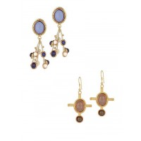 Combo of 2 Brass Earrings Encrusted With Lapis Lazuli and Rose Quartz Gemstones