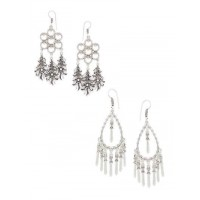 Combo of Feather and Sword Oxidized Silver Earrings