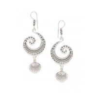 Combo of Feather and Shell Oxidized Silver Earrings