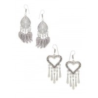 Combo of Leaves and Sword Oxidized Silver Earrings