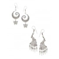 Combo of Butterfly and Peacock Oxidized Silver Earrings
