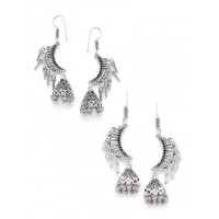 Combo of Two Lightweight Oxidized Silver Jhumkas