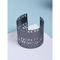 Patterned Grey Cuff Bracelet