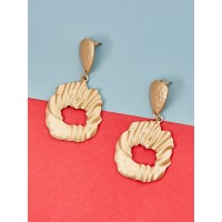 Golden Dangle Earrings With Matte Finish