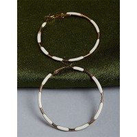 Golden and White Hoop Earrings