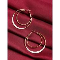 Golden and White Multi Hoop Earrings