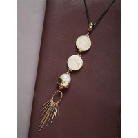 Golden Contemporary Pearl and Beads Necklace