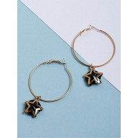 Golden and Black Star Hoop Earrings
