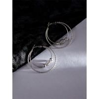 Beaded Silver Hoop Earrings For Women