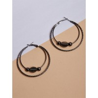 Black Layered Beaded Hoop Earrings For Women