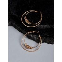 Beaded Golden Hoop Earrings For Women