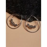 Beaded Grey Hoop Earrings