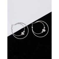 Lightweight Beaded Silver Hoop Earrings